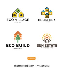 House logo design template set. Vector colorful eco home logotype, sign, symbol collection. Real estate badge concept isolated on background. Modern graphic building and housing label icon