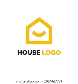 House Logo design template. Smile.