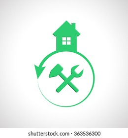 House logo design with tools as building and maintenance concept
