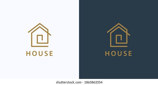 House Logo. Gold House Symbol Geometric Linear Style isolated on Double Background. Usable for Real Estate, Construction, Architecture and Building Logos. Flat Vector Logo Design Template Element.