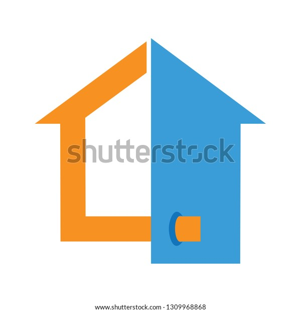 House Logo Half Silhouette House Logo Stock Vector Royalty Free 1309968868