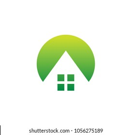 House logo, hostel, home design, repair business, real estate icon, building logo template, architecture symbol, village holiday, vocation outside the city. Vector green simple isolated illustration.