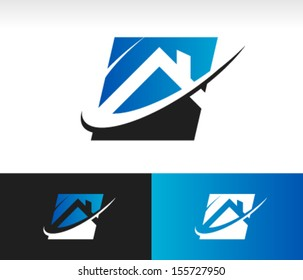 House logo icon with roof and swoosh graphic element