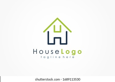 House Logo Letter H Line. Usable for Business, Architecture, Real Estate, Construction and Building Logos. Flat Vector Logo Design Template Element.
