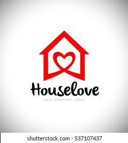 House logo with Love Symbol and Red Color. Creative House Logo with heart love icon.