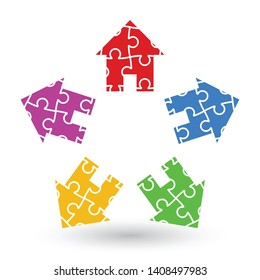 house logo made out of five houses in different colors