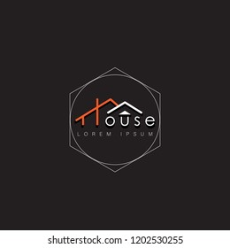 house logo minimalis. real estate sign vector illustration eps10 . landmark for business identity.