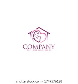 The house logo and the mother hold the newborn baby. modern vector illustration