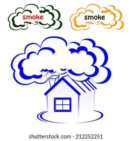 House logo with a smoke