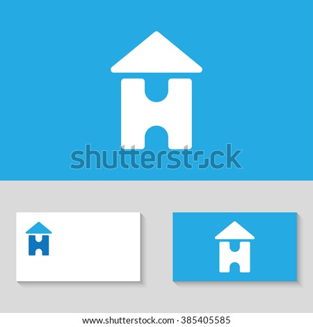 house logo template letter h in the form of home letter h logo template