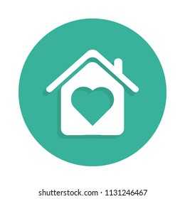 house with love icon in Badge style with shadow