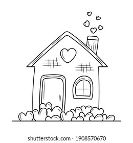 House of love outline vector sign, linear style pictogram vector illustration, isolated on white