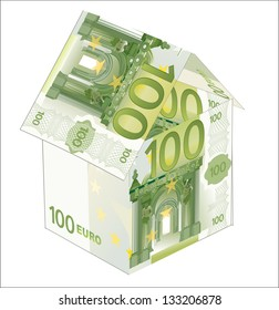 House made from 100 euro bills isolated on white background