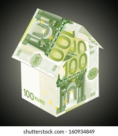 House made from 100 euro bills
