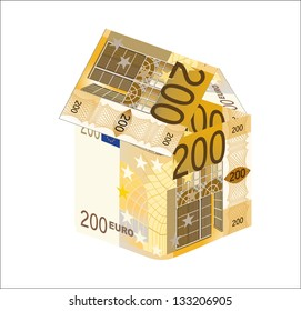 The house made of 200 Euro banknotes, isolated on white.