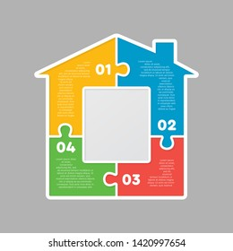 House made of 4 puzzles. Modern house banner puzzle white pieces for concept design. Jigsaw Home, building, exterior. Puzzle construction renting, leasing, mortgage. Infographic template presentation.