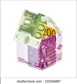 House made of euro banknotes, isolated on the white background