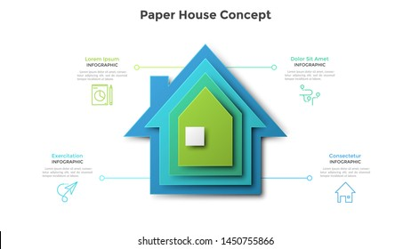 House made of four colorful paper elements placed one on another. Concept of 4 stages of real estate or housing development project. Modern infographic design template. Realistic vector illustration.