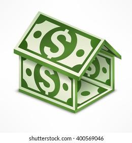 House made from money bill. Vector illustration