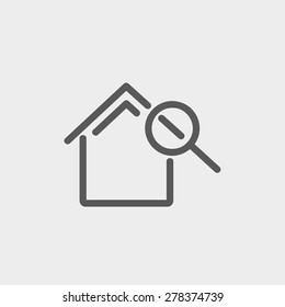 House and magnifying glass icon thin line for web and mobile, modern minimalistic flat design. Vector dark grey icon on light grey background.