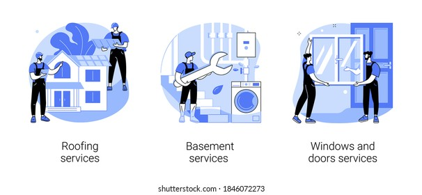 House maintenance abstract concept vector illustration set. Roofing and basement services, windows and doors replacement and installation, broken glass, fly screen, hire contractor abstract metaphor.