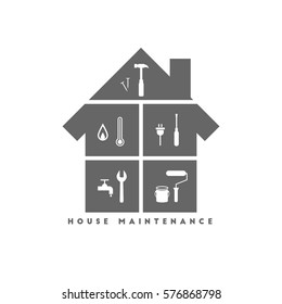 House maintenance concept with different work tool icons