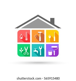 House maintenance service with different tools in colorful flat design