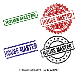 HOUSE MASTER seal prints with distress surface. Black, green,red,blue vector rubber prints of HOUSE MASTER label with grunge surface. Rubber seals with circle, rectangle, medallion shapes.