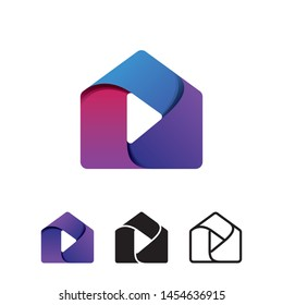 House and Media Play Button for Content Creator Production Logo Design