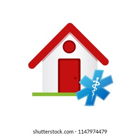 House and medical symbol icon over a white background