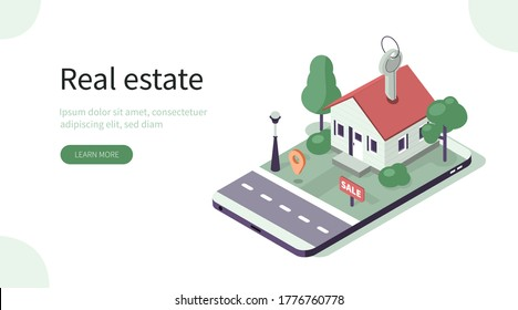 House Model with Keys Standing on Smartphone. Mobile App for Searching Houses for Renting or Buying Online. Real Estate and Property Management Concept. Flat Isometric Vector Illustration.
