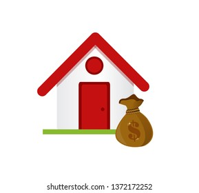 house and money bag isolated over a white background