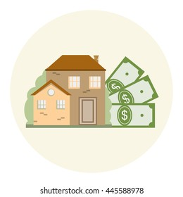 House and money dollar. Mortgage, real estate, investment concept. Save money for house. Vector illustration flat design for business financial marketing banking advertising
