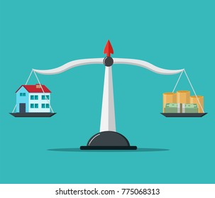 House and Money on weighing machine. Scales with house and money. Real estate, rental, expense, liabilities and mortgage concept.