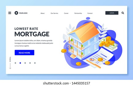 House mortgage and real estate loan business concept. Vector 3d isometric illustration for web landing page, banner or poster design. Buy, sale or rent property icons.