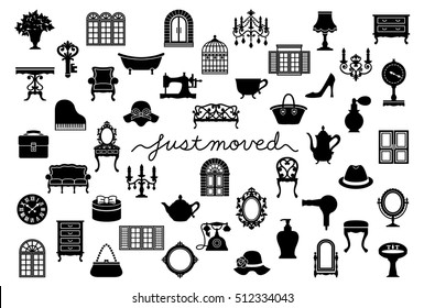 house moving greeting card with antique interior.