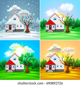 House and nature four seasons photo-realistic vector illustration