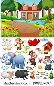 A house in nature scene with isolated cartoon character and objects illustration