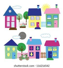 House and Neighborhood Illustrations