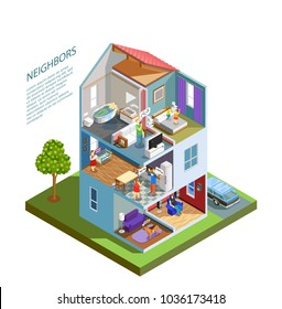 House with neighbors including spoiled kids, crying baby, barking dog, people during quarrel isometric composition vector illustration