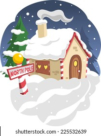 Santa´s house in the north pole vector cartoon illustration