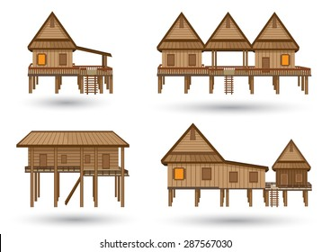 House of northeast Thailand.Thai house style vector.Central Thai Wooden House Beautiful architecture.High detail wooden house Made of vector. One storey high floor to keep the wind blowing.