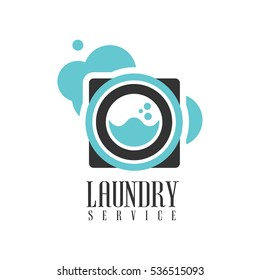 House And Office Cleaning Service Hire Logo Template With Washing Machine For Professional Cleaners Help For The Housekeeping
