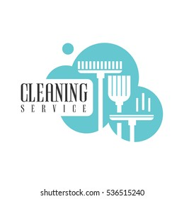 House And Office Cleaning Service Hire Logo Template With Broom And Mop For Professional Cleaners Help For The Housekeeping