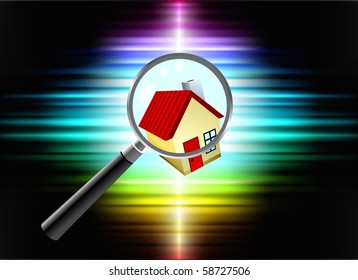 House on Abstract Spectrum Background Original Illustration