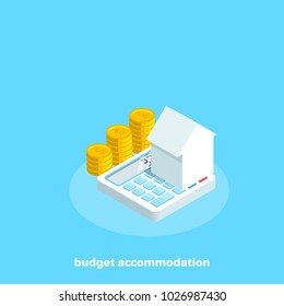 house on a calculator that stands next to the money, an isometric image