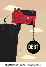 A house on a the edge of a cliff, weighed down with a large weight with Debt written on it and a man pulling a rope to try to stop it falling. A vector illustration metaphor about property debt.