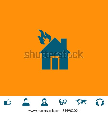 House On Fire Blue Symbol Icon Stock Vector Royalty Free 614903024