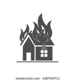 House on fire, flat icon on white background.