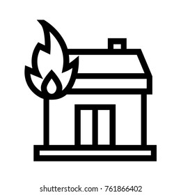 House on fire flat icon. Real estate property linear vector illustration. Home insurance concept. Isolated on white background.